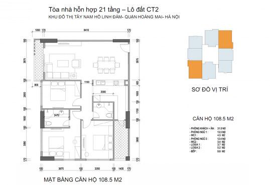 Mặt bằng căn hộ chung cư Twin Towers diện tích 108,8 m2