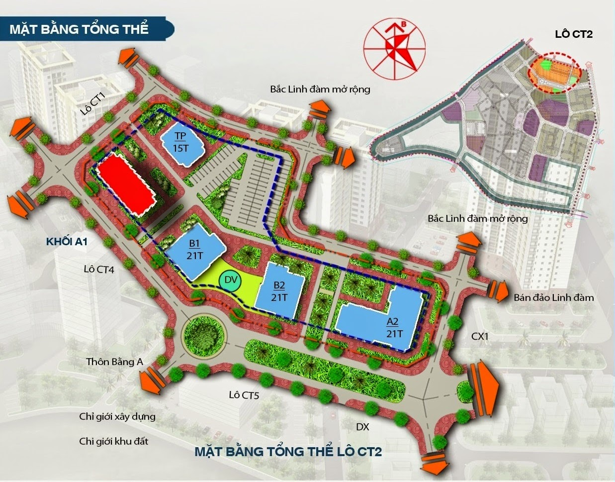 Vị trí dự án A1CT2 trong khu đô thị Tây Nam Linh Đàm