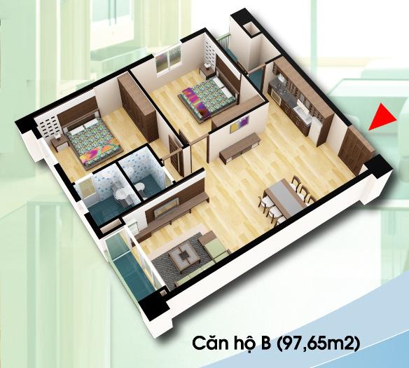 chung cư d2ct2 linh đàm căn hộ loại B diện tích 97,65m2