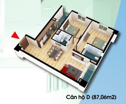 chung cư D2CT2 Tây Nam linh đàm, căn D, diện tích 87,06 m2