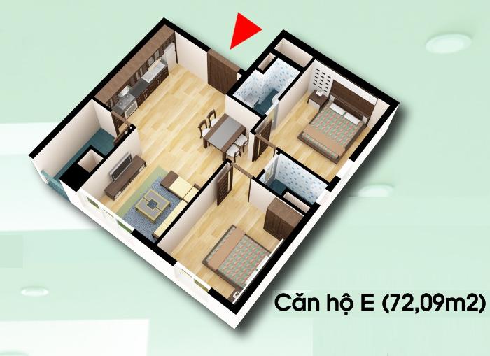 Căn E, chung cư d2ct2 linh đàm, diện tích 72,09 m2