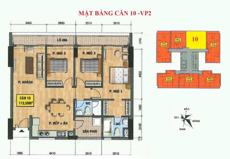 Mặt bằng căn hộ 10-vp2 bán đảo linh đàm