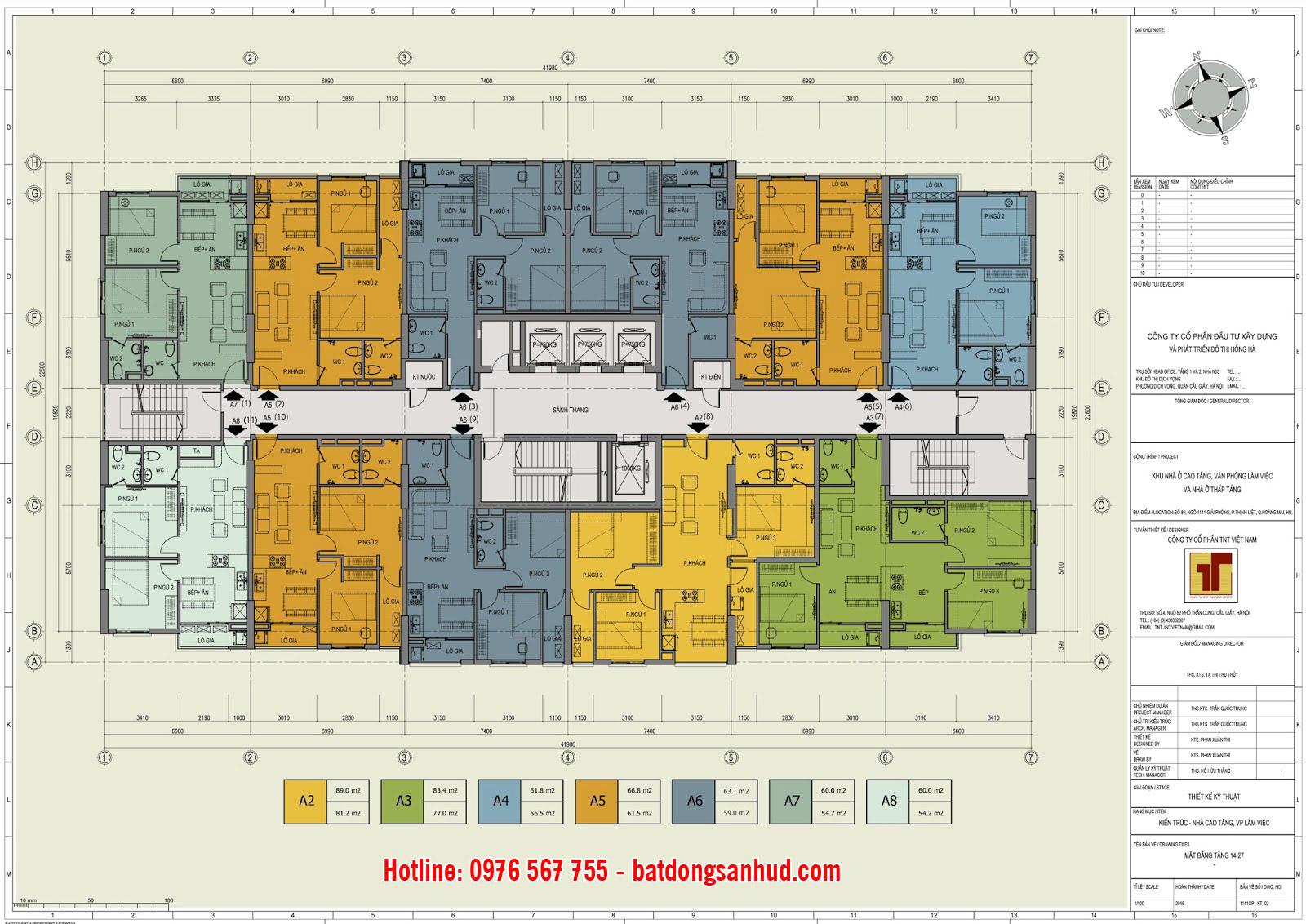 Mặt bằng căn hộ tầng 14 đến 27 Hồng Hà Tower