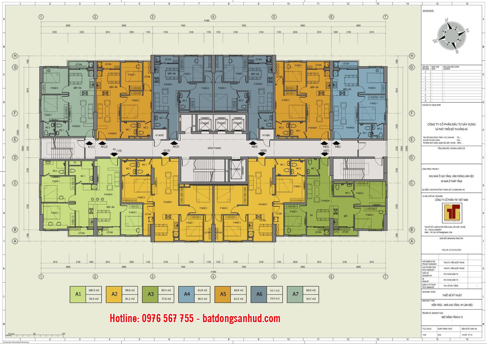 Mặt bằng căn hộ tầng 6 đến 13 Hồng Hà Tower