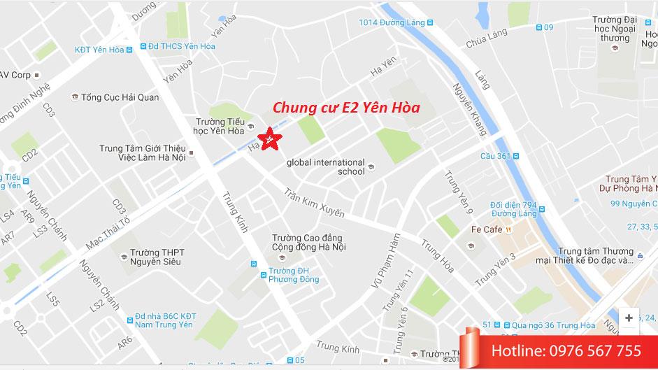Vị trí Chung Cư E2 Yên Hòa trên bản đồ
