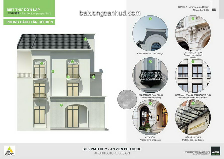 Biệt thự đơn lập thuộc dự án con đường tơ lụa - the silk path city Phú Quốc - phong cách tân cổ điển