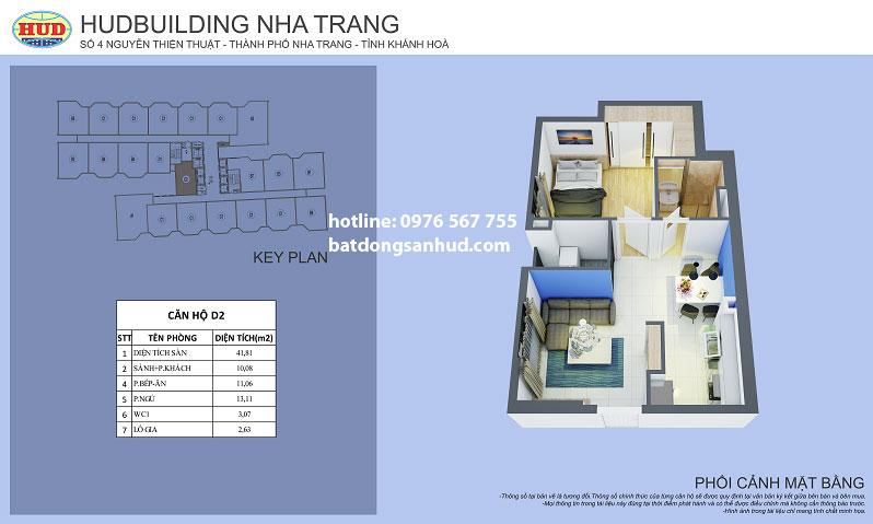 Căn hộ loại D2 tòa Hudbuilding Nha Trang