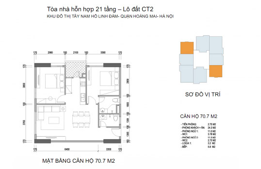 Mặt bằng căn hộ chung cư Twin Towers diện tích 70,7m2