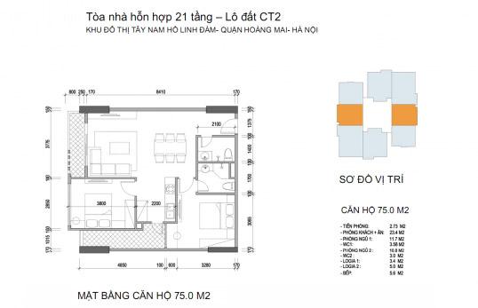 Mặt bằng căn hộ chung cư Twin Towers diện tích 75 m2