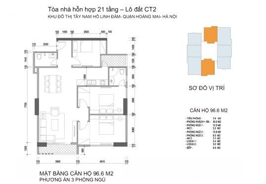 Mặt bằng căn hộ chung cư Twin Towers diện tích 96,6 m2