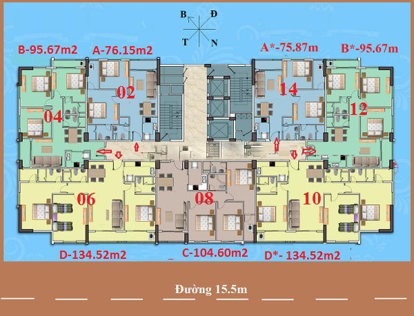 Sơ đồ đánh số căn hộ chung cư A1CT2 Tây Nam Linh Đàm