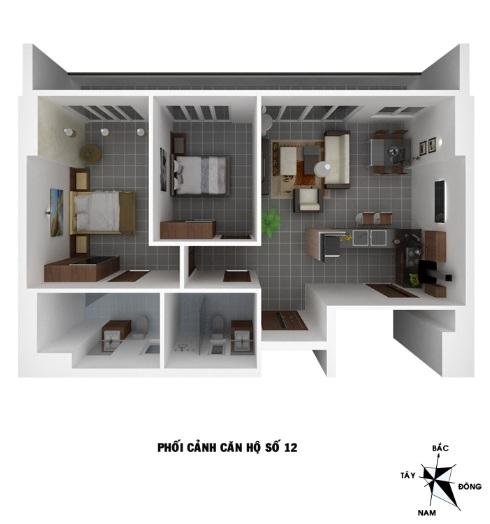 Bán căn số 12 gồm 2 phòng ngủ tòa VP4 linh đàm
