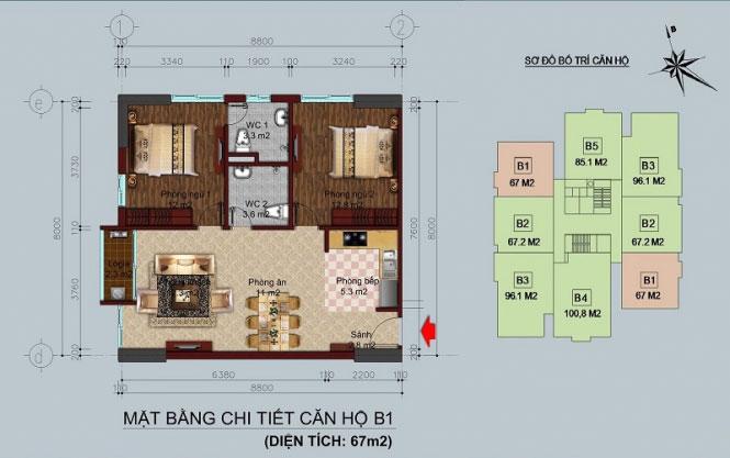 Thiết kế căn hộ B1 - 67M2