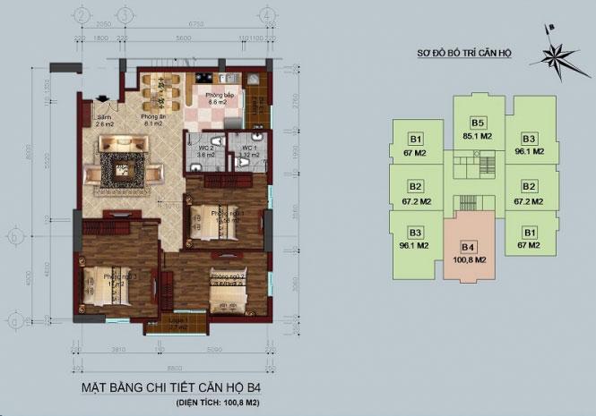 Thiết kế căn hộ B4 - 100,8M2 Twin Towers