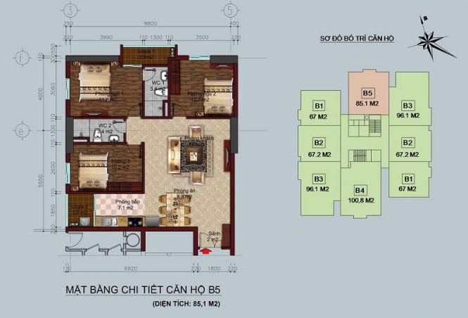 Thiết kế căn hộ B5 - 85,1M2 Twin Towers