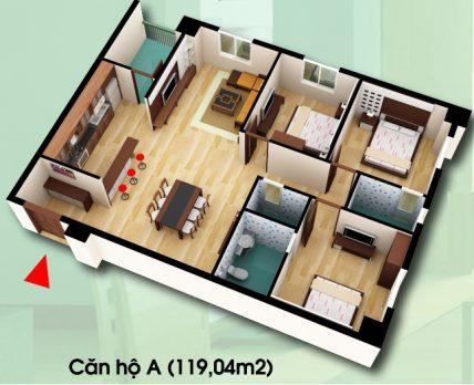 Chung cư d2ct2 linh đàm, căn hộ loại A, diện tích 119,04m2