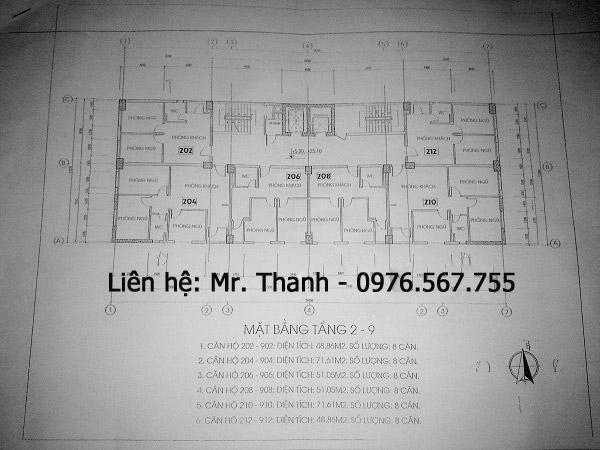 Chung cư P3 Phương Liệt từ tầng 2 đến tầng 9 là các loại diện tích 48.86m2, 51.05m2, 71.61m2