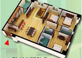 Thiết kế căn hộ A Chung cư D2CT2 Tây Nam Hồ Linh Đàm