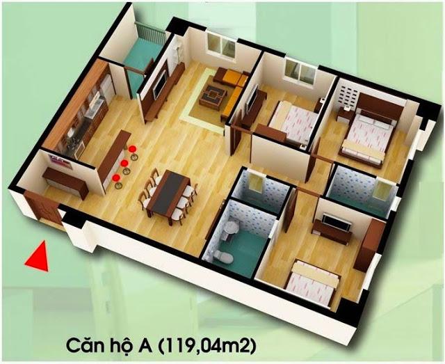 Căn hộ A, 119,04 m2