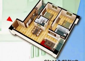 Thiết kế căn hộ D 87,06m2 chung cư D2CT2 Tây Nam Linh Đàm
