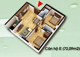 Thiết kế căn hộ E 72,09m2 chung cư D2CT Tây Nam Linh Đàm