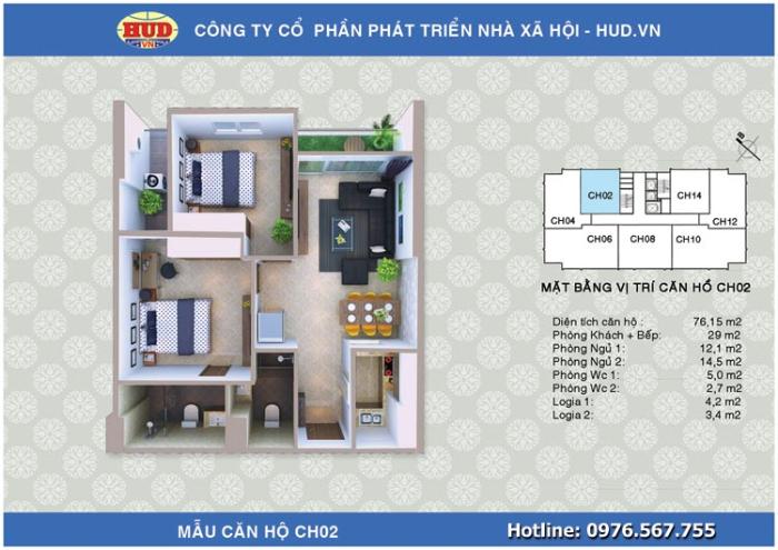 Mẫu căn hộ CH02 diện tích 76,15 m2