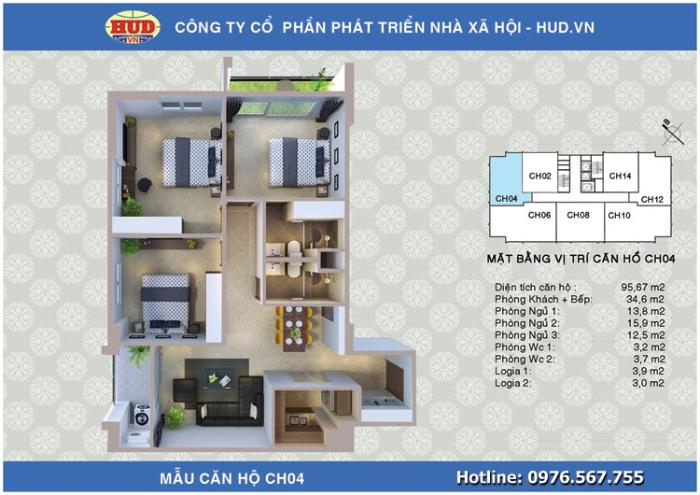 Căn CH04 Chung cư A1CT2 Tây Nam Linh Đàm