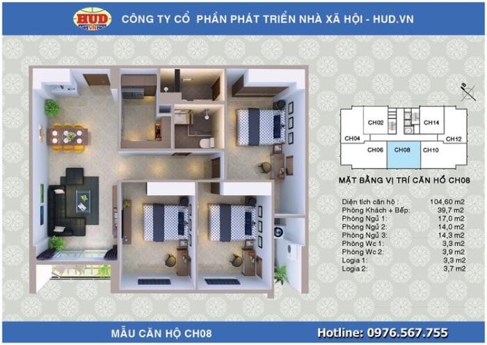 Căn CH08 Chung cư A1CT2 Tây Nam Linh Đàm