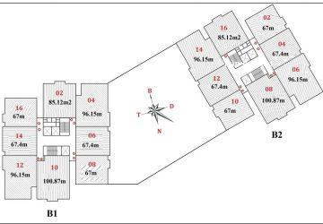 Bán căn hộ 96m2 chung cư B1B2 CT2 tây nam linh đàm