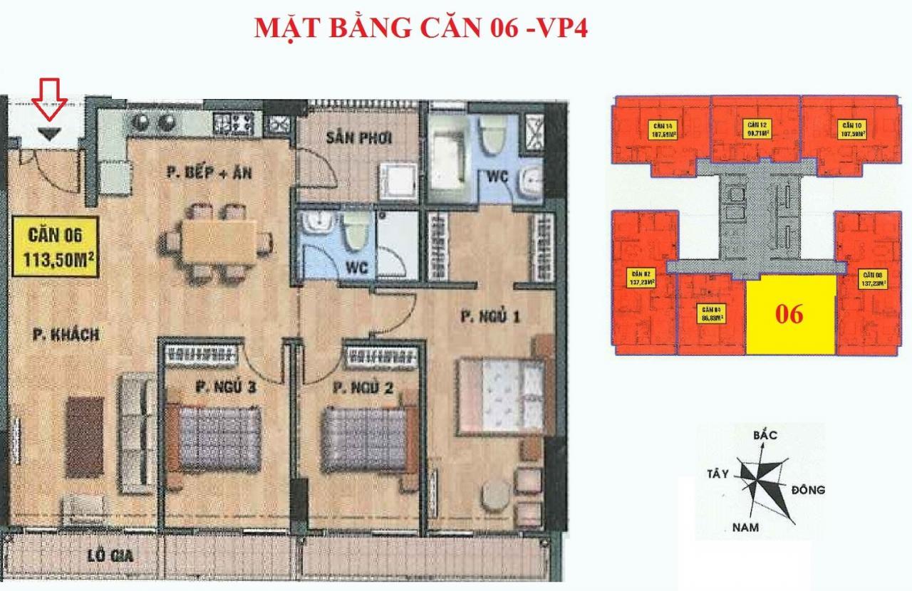 Mặt bằng căn hộ 06-VP4 bán đảo linh đàm