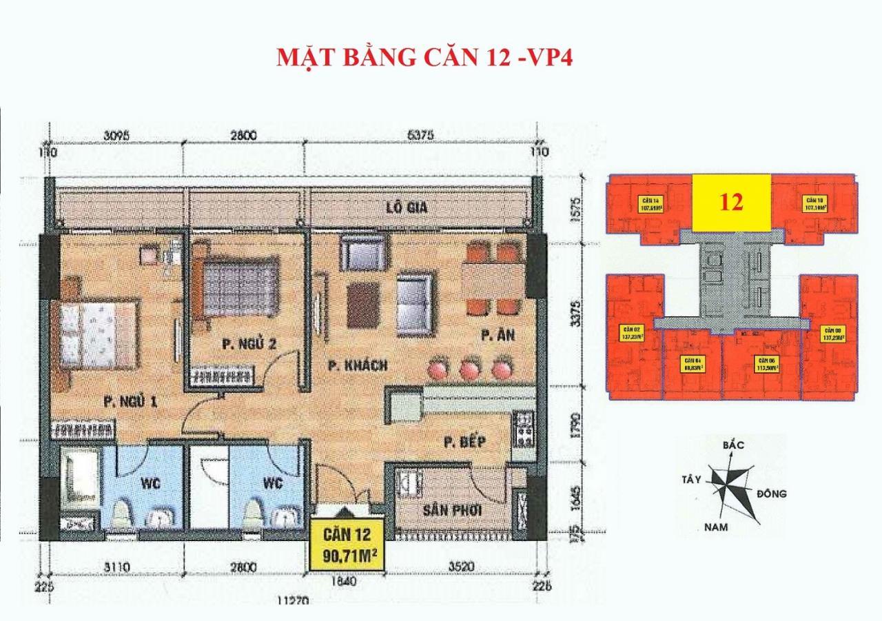 Mặt bằng căn hộ 12-VP4 bán đảo linh đàm