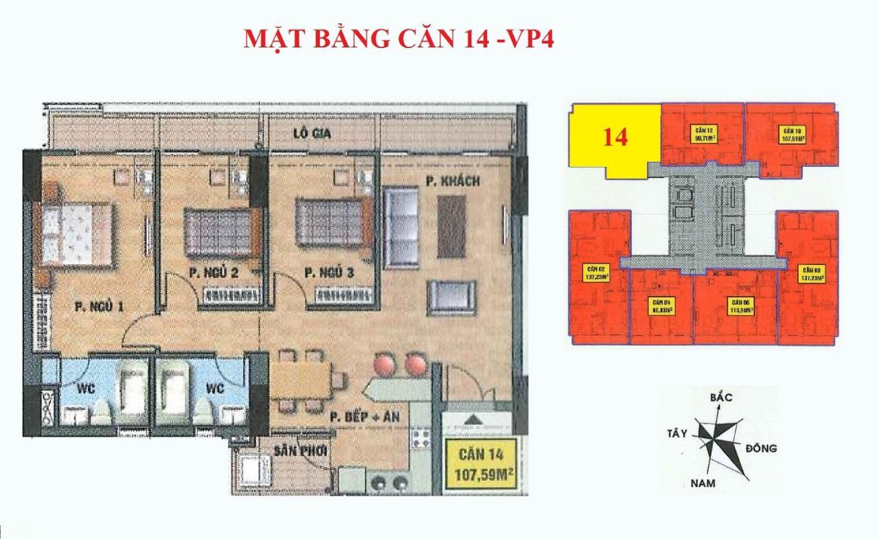 Mặt bằng căn hộ 14-VP4 bán đảo linh đàm
