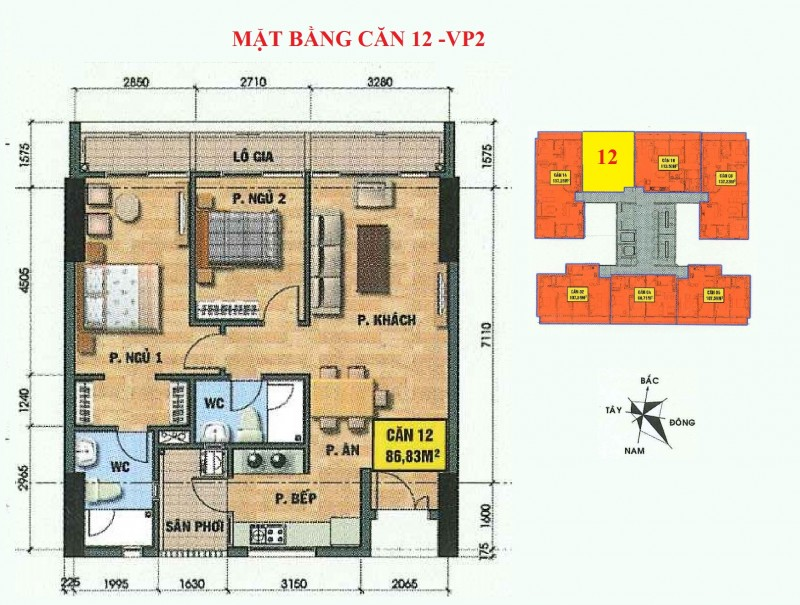 Mặt bằng căn hộ 12-vp2 bán đảo linh đàm