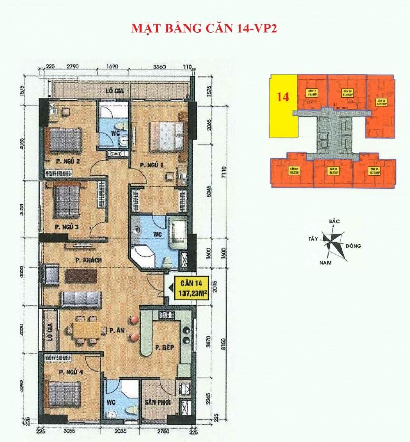 Mặt bằng căn hộ 14-vp2 bán đảo linh đàm