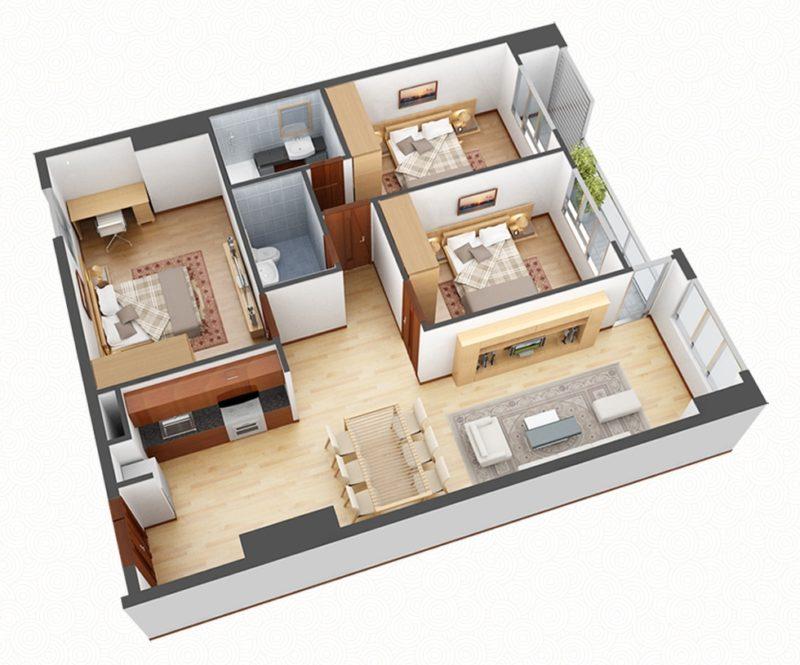 Căn hộ 3 phòng ngủ chung cư 60 Nguyễn Đức Cảnh