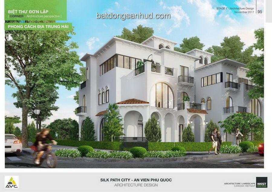 Biệt thự đơn lập thuộc dự án con đường tơ lụa - the silk path city Phú Quốc - phong cách địa trung hải