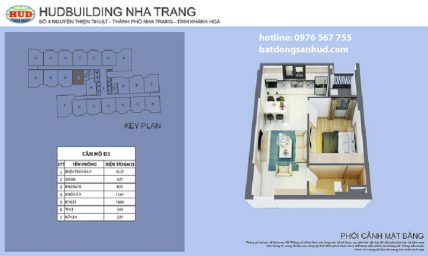 Căn hộ loại D1 tòa Hudbuilding Nha Trang