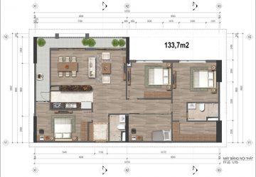 Căn hộ loại 133.7m2, chung cư HH 43 Phạm Văn Đồng