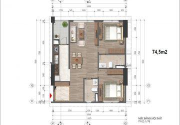 Chung cư HH 43 Phạm Văn Đồng – căn hộ loại 74.5m2