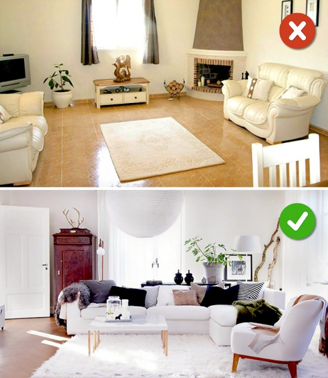 Kích cỡ của thảm ảnh hưởng lớn đến không gian phòng khách