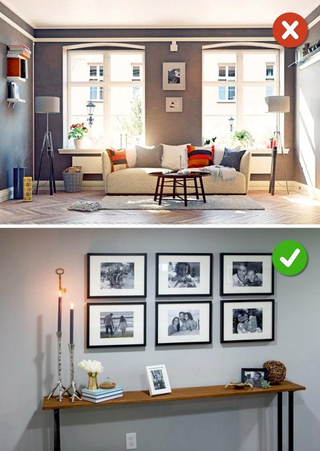 Nên sử dụng bộ sưu tập tranh treo tường để tiết kiệm không gian và tăng độ thẩm mĩ