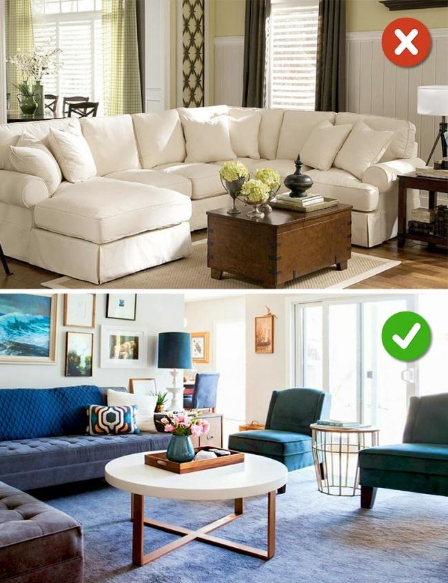 Chọn sofa kích thước phù hợp với phòng khách