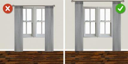 Treo rèm đúng cách giúp phòng khách rộng rãi