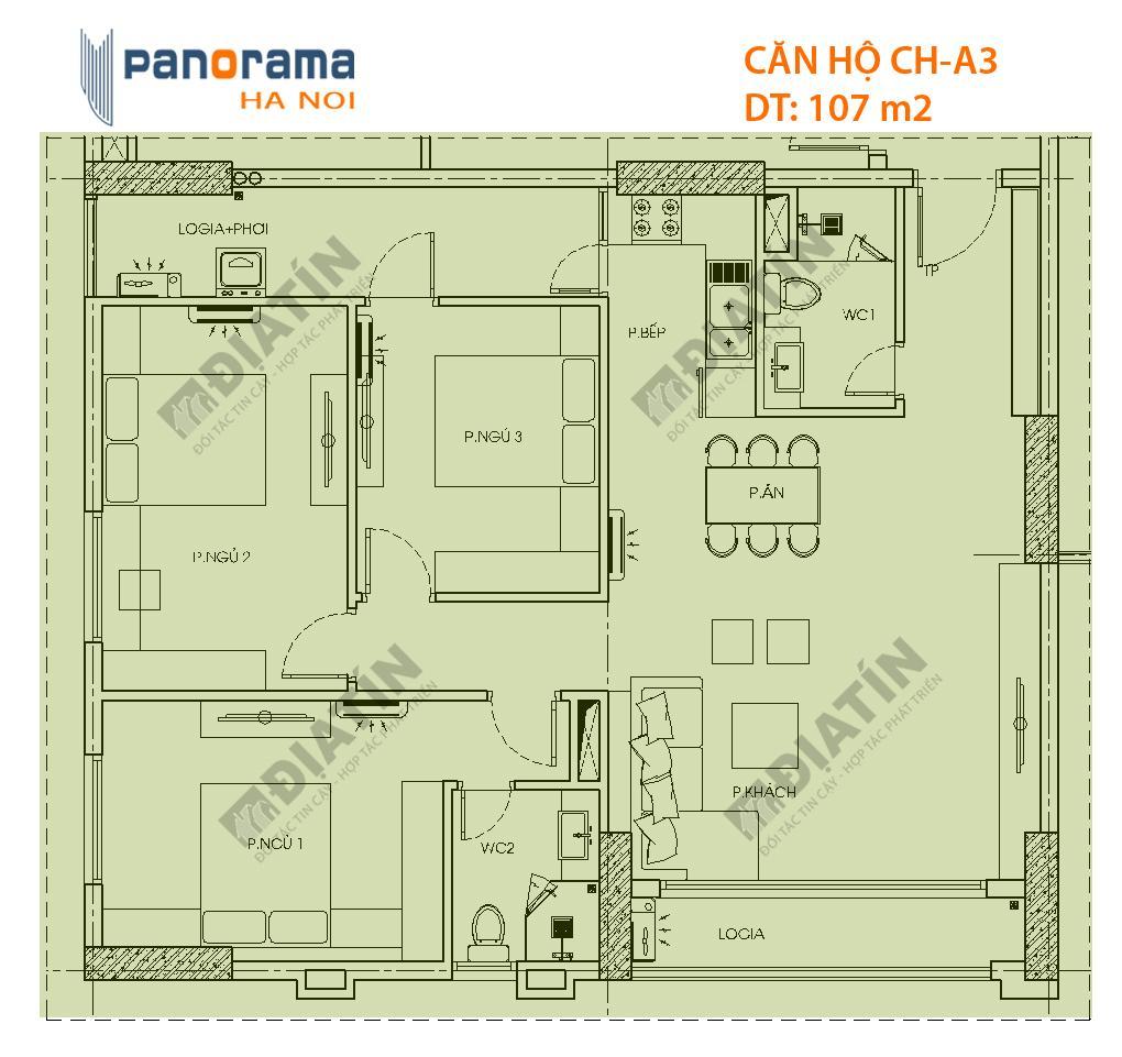 Căn 3 phòng ngủ 107m2 tòa CT1A Panorama