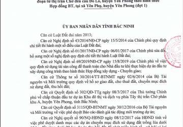 Quyết định giao đất của UBND tỉnh Bắc Ninh cho Công ty cổ phần đầu tư nhà và thương mại Hưng Ngân