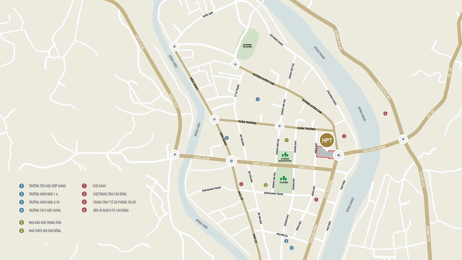 Vị trí đắc địa tại trung tâm thành phố Cao Bằng
