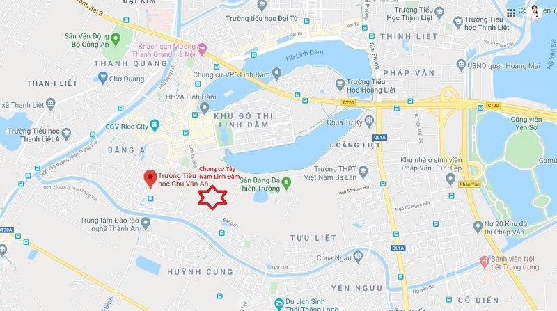 Vị trí dự án Tây Nam Linh Đàm - Chủ đầu tư tập đoàn Hưng Thịnh