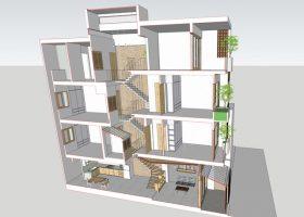 Mẫu thiết kế nhà ống lệch tầng 45m2 đầy đủ tiện nghi cho gia đình 6 thành viên