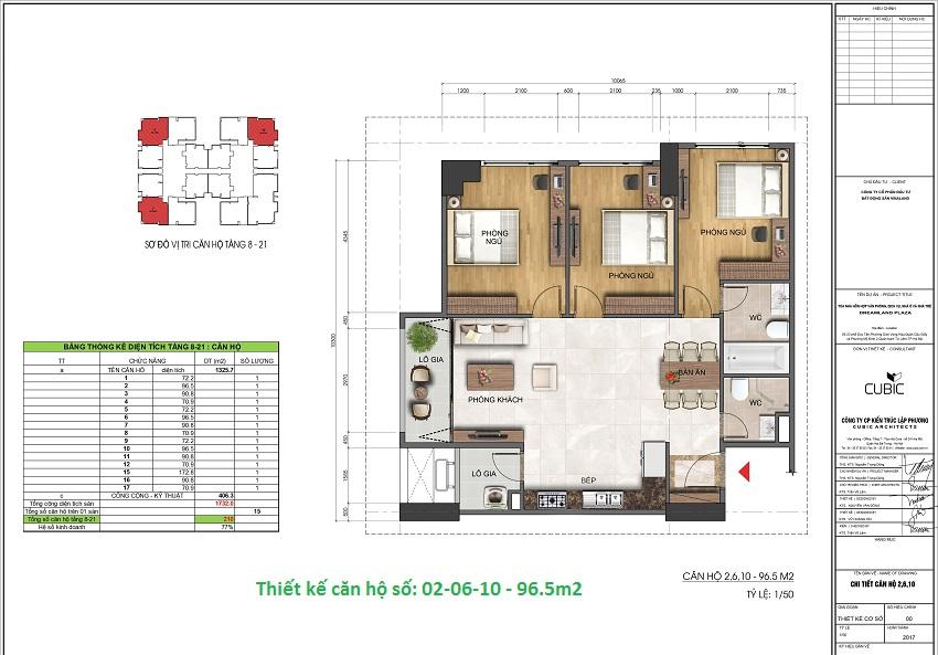 Thiết kế căn hộ số: 02-06-10 - 96.5m2