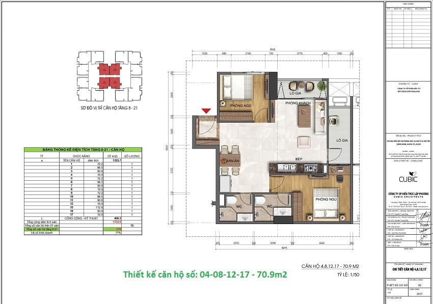 Thiết kế căn hộ số: 04-08-12-17 - 70.9m2